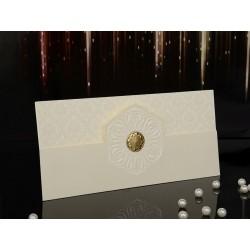 Invitatie de nunta vintage cu model floare si pecete 15014