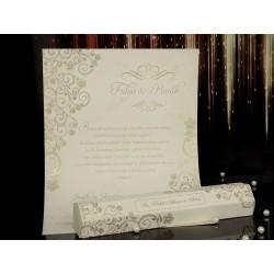 Invitatie de nunta papirus cu model floarl 15093