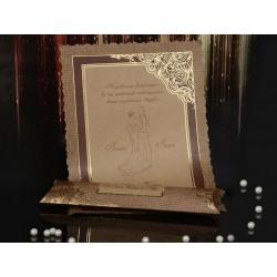 Invitatie de nunta vintage cu miri papirus 15094
