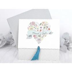 Invitatie de nunta vintage cu inimioara din flori 39232