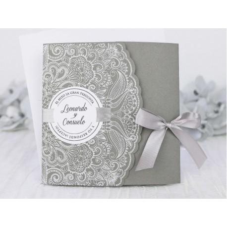 Invitatie de nunta gri cu model dantelat 39231