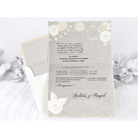 Invitatie de nunta vintage cu model floral 39229