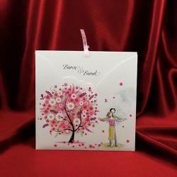 Invitatie de nunta cu indragostiti si copacel 135