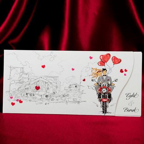 Invitatii Nunta Mea Cu Indragostiti Pe O Motocicleta Si Baloane Inima