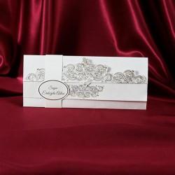 Invitatie de nunta cu model vintage argintiu 233