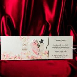 Invitatie de nunta eleganta cu pasari si colivie 235