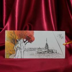 Invitatie de nunta cu miri si copacel 238