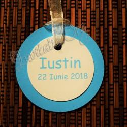 Eticheta rotunda bleu-ivoire