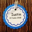 Eticheta eleganta Floare albastru-alb