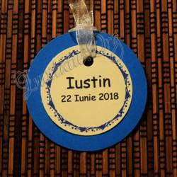 Eticheta rotunda eleganta albastru-ivoire