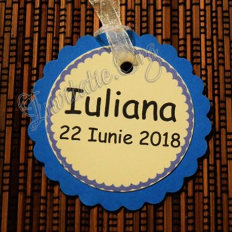 Eticheta eleganta Floare albastru-ivoire