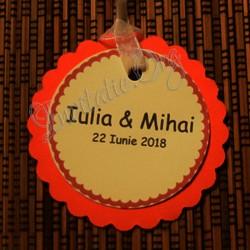 Eticheta rotunda eleganta rosu-ivoire