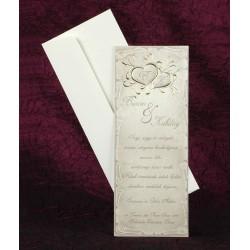 Invitatie de nunta cu inimioare aurii 2469