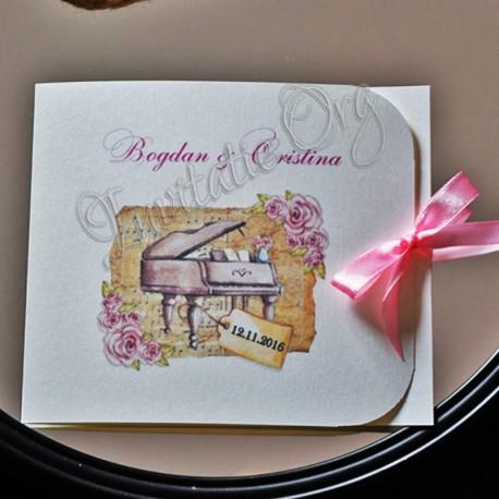Invitatie Romantica cu model trandafiri Shabby Chic si Pian