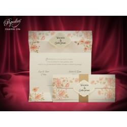 Invitatie de Nunta Eleganta cu Model Trandafiri Vintage 2706