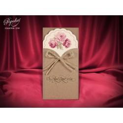 Invitatie de Nunta Rustica cu Model Trandafiri 2709