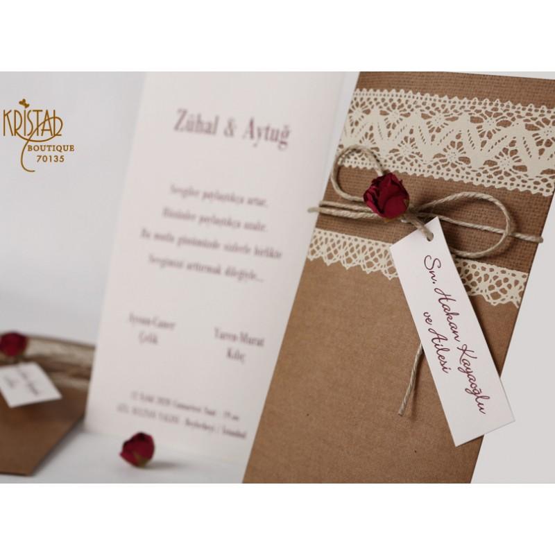 Invitatii De Nunta Elegant Rustic Cu Model Dantela Si Floricica 70135