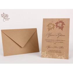 Invitatie de Nunta Elegant-Rustica cu Frunze de Toamna 70173