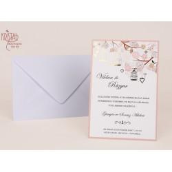 Invitatie de Nunta eleganta cu model floral si colivii 70195