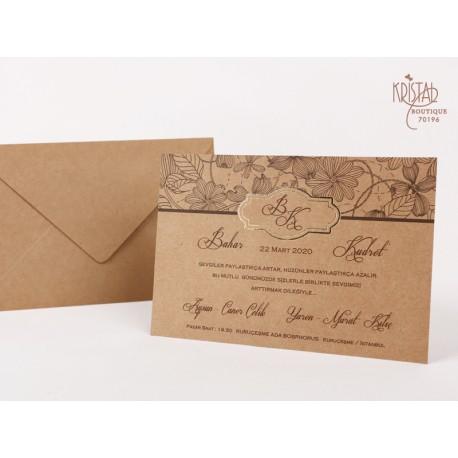 Invitatii De Nunta Ieftine Craft Cu Model Floral 70196