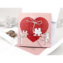 """Invitatie de nunta tip """"Puzzle"""" cu miri haiosi si inima - Poza 35638"""