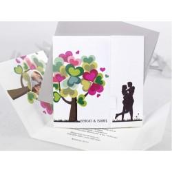 Invitatie de nunta Romantica cu copacel din inimioare si Poza 35681
