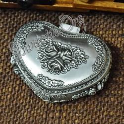 Caseta pentru bijuterii Inima cu model trandafiri antimoniu