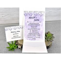 Invitatie de nunta cu model flori de Lavanda 39311