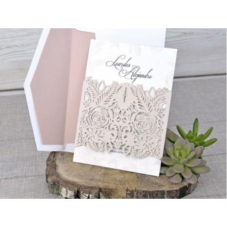 Invitatii Nunta Cu Model Floral Vintage Si Decupaj Laser 39328 2