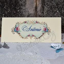 Plic de bani cu model floral elegant bleu