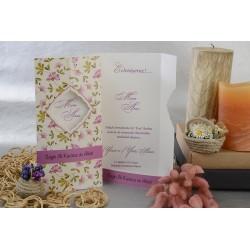 Invitatie de nunta cu model floral 17105