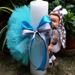 Lumanare de botez cu Bebelus somnoros (Soricel) si Pompon
