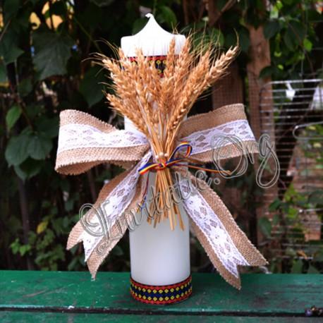Lumanare Eveniment Nunta Sau Botez Traditional Rustica Cu Spice Grau