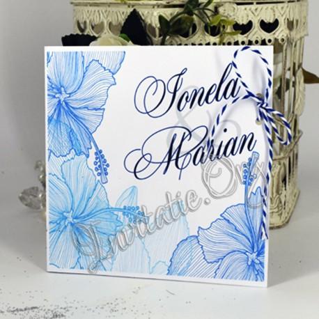 Invitatie eleganta cu Flori de hibiscus albastre