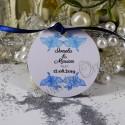 Eticheta rotunda cu flori de hibiscus bleu