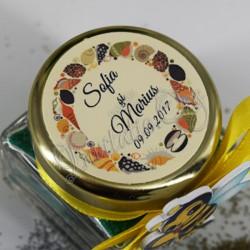 Eticheta cu motiv marin scoici si melci de mare