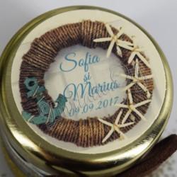 Eticheta cu motiv marin Coroana sfoara-ancora-stelute de mare