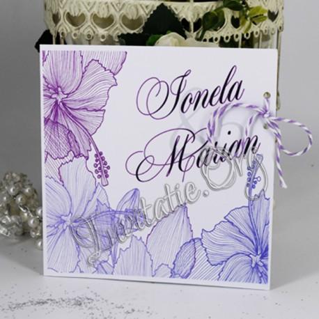 Invitatie eleganta cu Flori de hibiscus mov