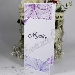 Meniu elegant cu flori de hibiscus mov