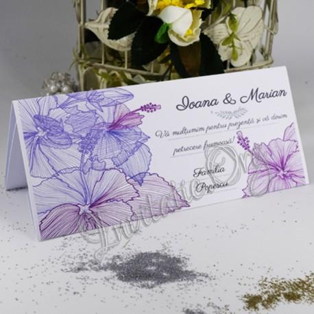 Plic de bani cu flori de hibiscus mov