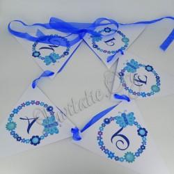 Ghirlanda Botez Steag cu model Floral si Fluturas Albastru