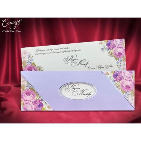 Invitatii Nunta Cu Model Trandafiri Lila Shabby 5546