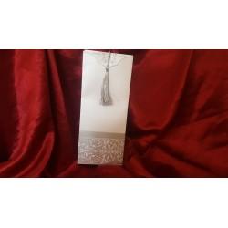 Invitatie de Nunta Baroc Argintie cu ciucuras 444