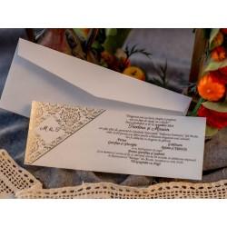 Invitatie de Nunta cu model Vintage auriu 593