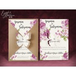 Invitatie de Nunta cu model Floral roz si Fluture 3D 618