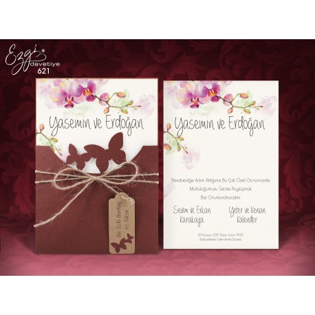 Invitatii Nunta Cu Model Floral Elegant Orhidee Si Fluturi 621