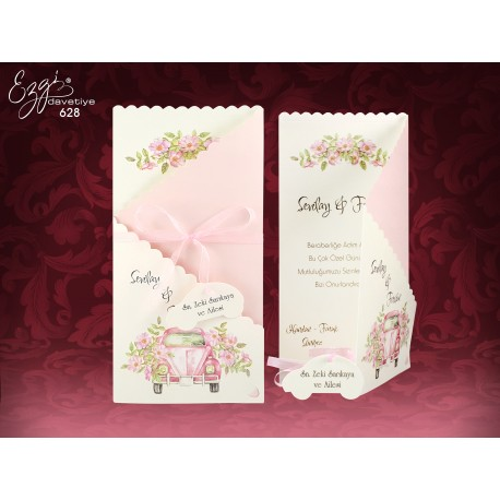 Invitatii Nunta Elegante Cu Flori De Cires Si Masina Vintage Roz 628