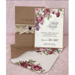 Invitatie de Nunta Kraft cu Model Floral 94057