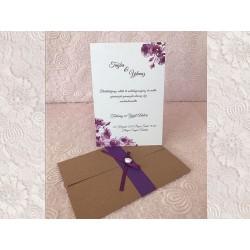 Invitatie de Nunta cu Model Floral violet 94098