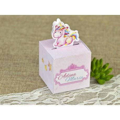Marturie Botez Cutiuta cu Unicorn vesel roz 4611
